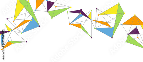Line points connections, triangular technology design Wallpaper Mural