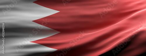 Bahrain national flag waving texture background. 3d illustration Canvas Print