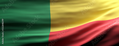 Benin national flag waving texture background. 3d illustration Canvas Print