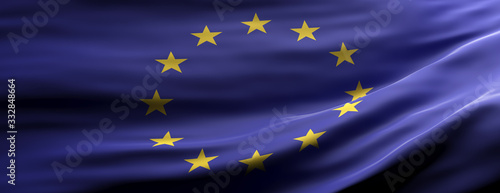 Fototapeta EU national flag waving texture background. 3d illustration obraz