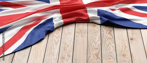 UK flag on wood, copy space. 3d illustration