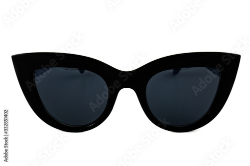 Fotografiet Black cat eye sunglasses with thick frame and gradient window isolated on white