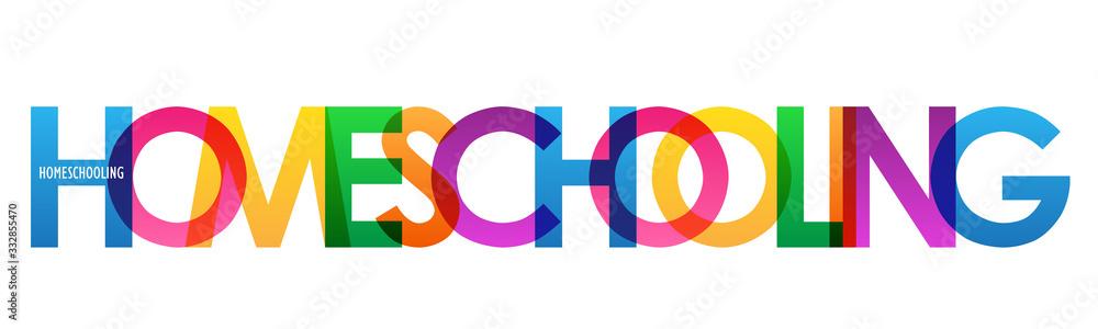 Fototapeta HOMESCHOOLING colorful vector typography banner