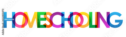 Fototapeta HOMESCHOOLING colorful vector typography banner