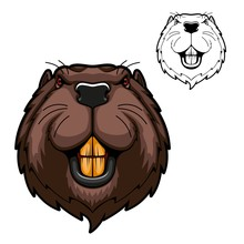 Beaver Animal Head Vector Masc...
