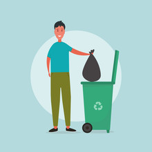 Waste Handling. Illustration With Man Tossing His Garbage Into Trashcan With Recycling Symbol On Blue Background