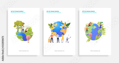 Fototapeta Set of planet care illustrations. Flat vector illustrations of people planting trees, watering plants, camping, travelling. Lifestyle concept for banner, website design or landing web page obraz