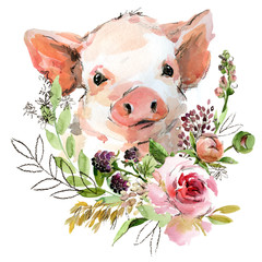 cute watercolor cartoon piggy. forest animal illustration.