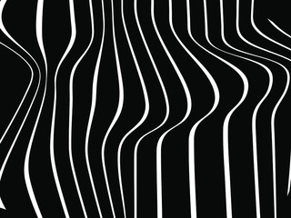 Abstract rippled or white lines pattern with wavy vibrant facture on black ba...