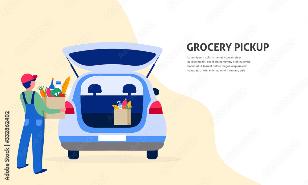 Fototapeta Food delivery service concept, online order tracking. Warehouse, truck and scooter courier, with a delivery man in a respirator mask. Vector illustration