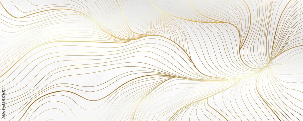 Fototapeta Luxury golden wallpaper. Art Deco Pattern, Vip invitation background texture for print, fabric, packaging design, invite.  Vintage vector illustration