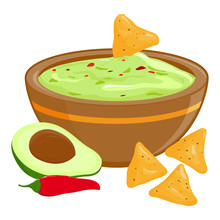 Bowl Of Avocado Guacamole And ...