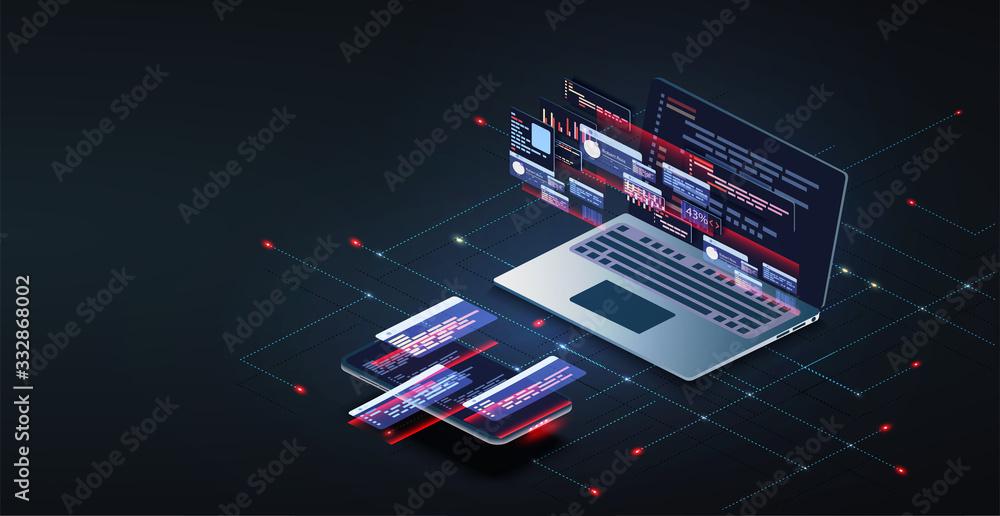 Fototapeta Programming and software development web page banner, program code on screen device. Software development coding process concept. Programming, testing cross platform code, app on laptop, phone UI/UX