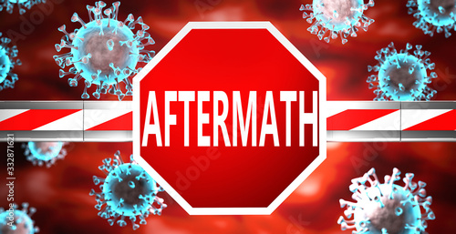 Photo Aftermath and coronavirus, symbolized by a stop sign with word Aftermath and vir
