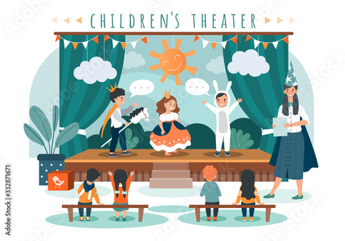 Fotografía Children theater play, kids in costumes on stage, people vector illustration