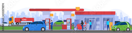 Photo Gas station in city, people refueling cars, vector illustration