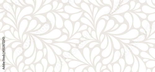 Fototapeta Vector seamless beige pattern with white drops. Monochrome abstract floral background. obraz