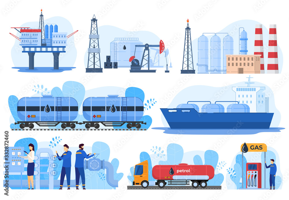 Fototapeta Oil logistic, gas industry, fuel extraction processing and transportation, vector illustration. Offshore oil rig, gas factory, train and car cisterns. Petroleum production industry, gasoline logistic