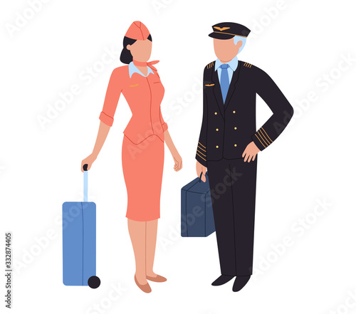 Aircrew, pilot and flight attendant, woman and man at airport, vector illustration Canvas Print