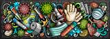 Koronawirus ręcznie rysowane ilustracja kreskówka doodles. Kolorowy transparent wektor
