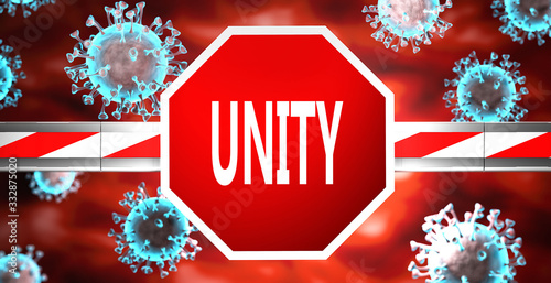 Unity and coronavirus, symbolized by a stop sign with word Unity and viruses to Wallpaper Mural