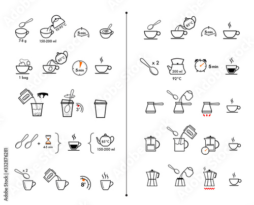 Set of methods of brewing tea and coffee Poster Mural XXL