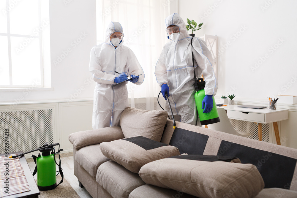 Fototapeta Home disinfection by cleaning service, surface treatment from coronavirus