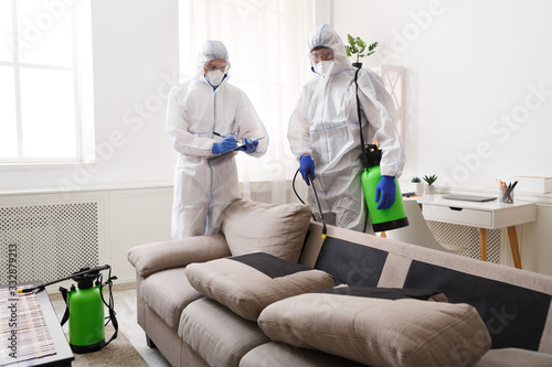 Fototapeta Home disinfection by cleaning service, surface treatment from coronavirus obraz