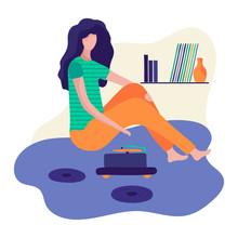 Woman Listen To Vinyl Music Re...