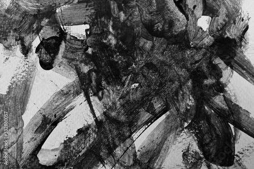 Fényképezés abstract black texture messy feeling background, mono tone of watercolor paintin