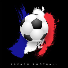 Grungy French Flag With Soccer...