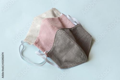 Fototapeta face protective mask handmade from fashion fabric cloth obraz