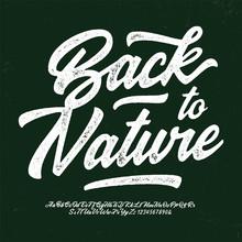 """Back To Nature"". Original Brush Script Font. Retro Typeface. Vector Illustration."