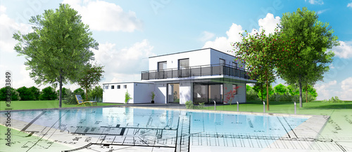 Fototapeta Esquisse d'une belle maison d'architecte moderne avec piscine et jardin obraz