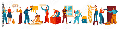 Canvastavla People renovating house, repair and maintenance service, vector illustration