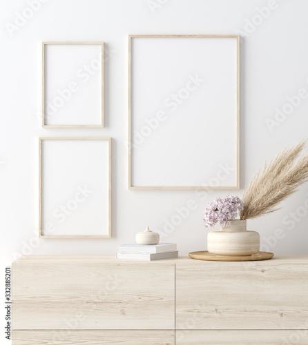 Fototapeta Mock up frame in coastal home interior background, room with natural wooden furniture and dry plants, 3d render obraz