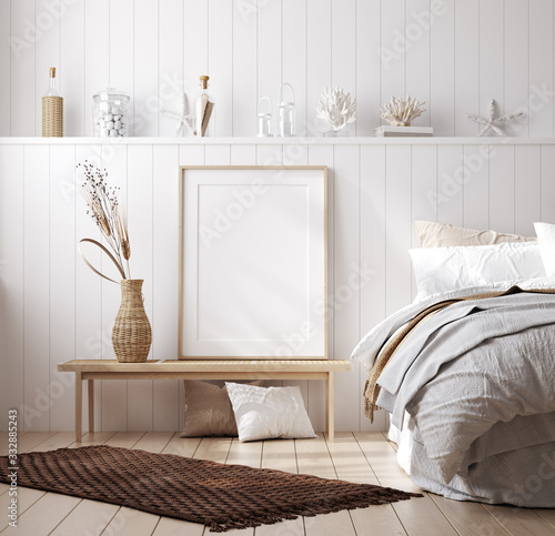 Valokuvatapetti Mock up frame in cozy home interior background, coastal style bedroom, 3d render