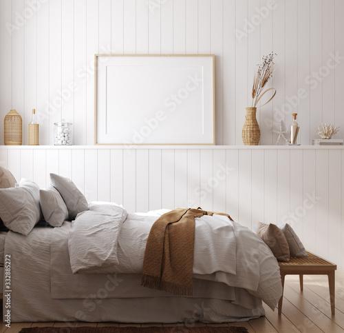 Mock up frame in cozy home interior background, coastal style bedroom, 3d render Fototapet