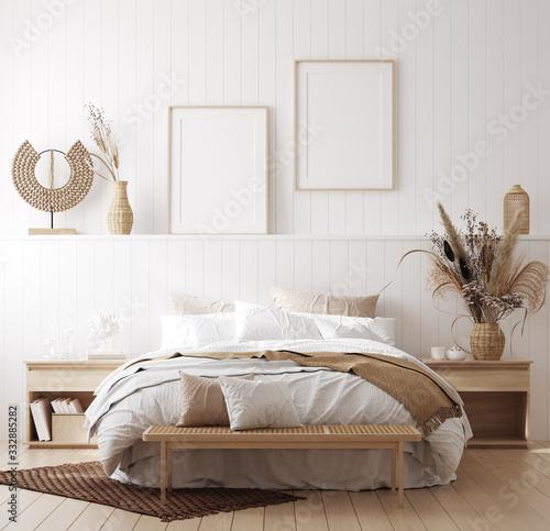 Fototapeta Mock up frame in cozy home interior background, coastal style bedroom, 3d render obraz