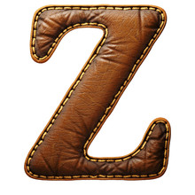 Leather Letter Z Uppercase. 3D...