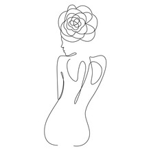 Naked Woman With A Flower On Her Head One Line Drawing On White Isolated Background. Vector Illustration