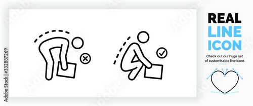 Fotografía Editable real line icon of a stick figure person doing heavy lifting with a corr