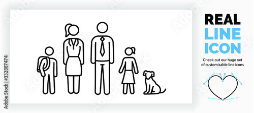 Editable real line icon of stick figure family with a son and his school bag and Fototapete