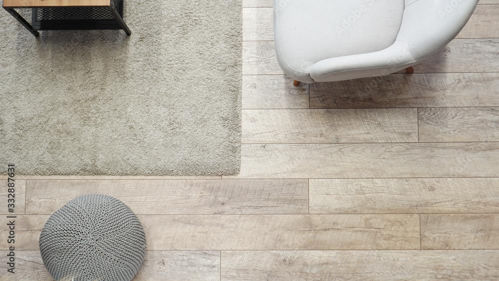 Fototapeta Top view minimal wood and white living room space area - Scandinavian classic room