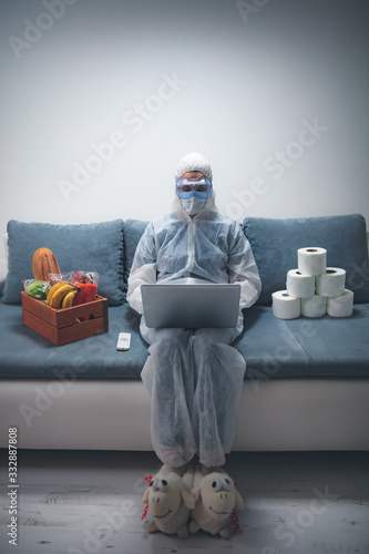 Fototapeta Quarantine and isolation during the virus outbreak - groceries and food in stock, working from home over the internet. obraz
