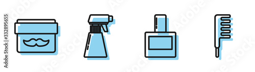 Photo Set line Aftershave, Cream or lotion cosmetic jar, Hairdresser pistol spray bottle and Hairbrush icon