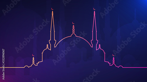Eid Mubarak Abstract Light Background With Glowing Neon Colored Mosque Silhouette Stock Vector Adobe Stock