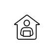 Working from home, remote working simple line icon vector illustration