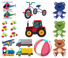 Large Set Different Toys On Wh...