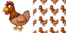 Seamless Background Design With Brown Chicken